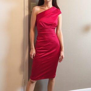 ASOS red satin one shoulder cocktail dress.